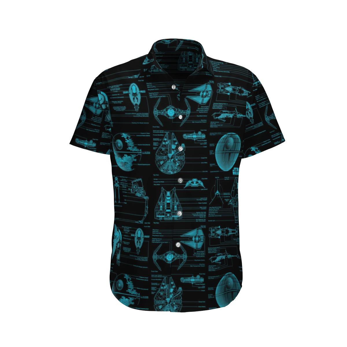 Star wars Blueprint Drawings of Spaceships Hawaiian Shirt