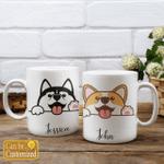 HUSKY & CORGI DOG PERSONALIZED COFFEE MUG