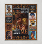 Black Girls Art God Designed Me Created Me Blessed Me Quilt