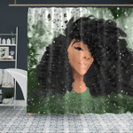 Black Curls Art Apparel - Afro Curly Girl - Shower Curtain