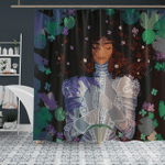 Black Women - Strong Beauty Afro Lady Knight - Shower Curtain