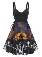 Halloween Pumpkin Skull Print Mock Button Belted Cami Dress