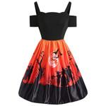 Cold Shoulder Backless Short Sleeve Halloween Print A-Line Women Dress