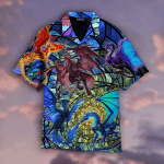 Dragon Stained Glass Hawaiian Shirt   For Men & Women   Adult   WT1046