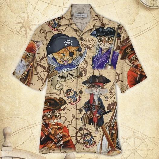Pirate Cat Hawaiian Shirt   For Men & Women   Adult   HW7899