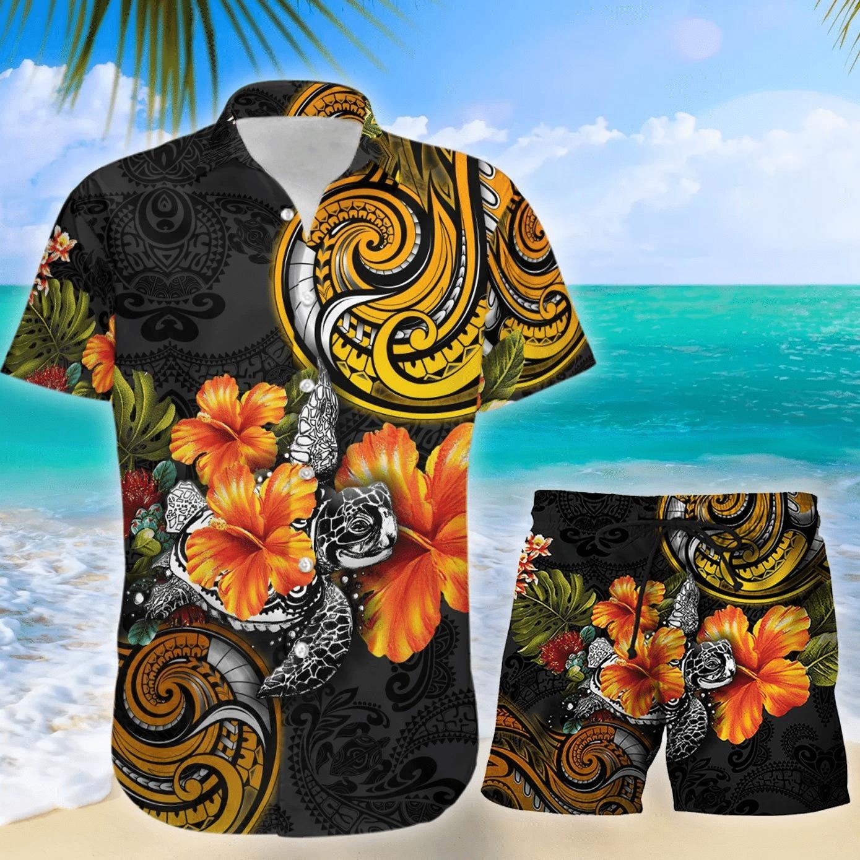 Amazing Polynesian Turtle Hibiscus Hawaiian Shirt Set | Unisex | HS1003