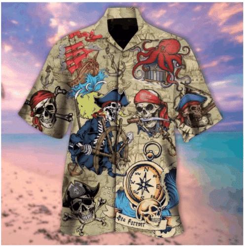 Skull Pirate Hawaiian Shirt   For Men & Women   Adult   HW5267