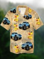 Blue Jeep with Funny Ducks Hawaiian Shirt   For Men & Women   Adult   HW4340
