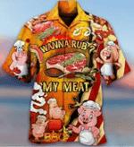 Pig Cute Wanna Rub My Meat Funny Barbecue Hawaiian Shirt | For Men & Women | Adult | HW3713