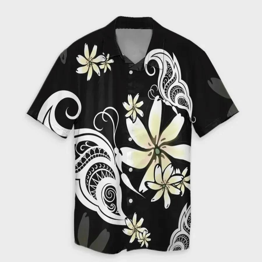 Butterfly Plumeria Polynesian Hawaiian Shirt | For Men & Women | Adult | HW6808