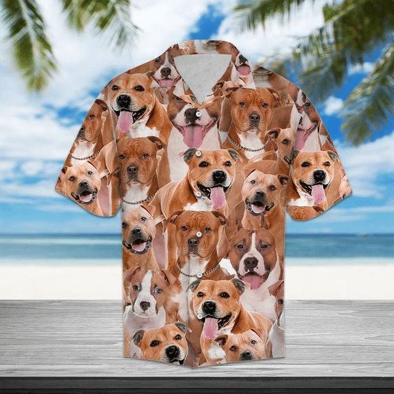 Staffordshire Terrier Hawaiian Shirt | For Men & Women | Adult | HW6336