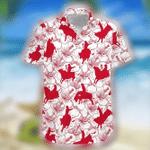 Bull Riding Red Hibiscus Hawaiian Shirt | For Men & Women | Adult | HW7104