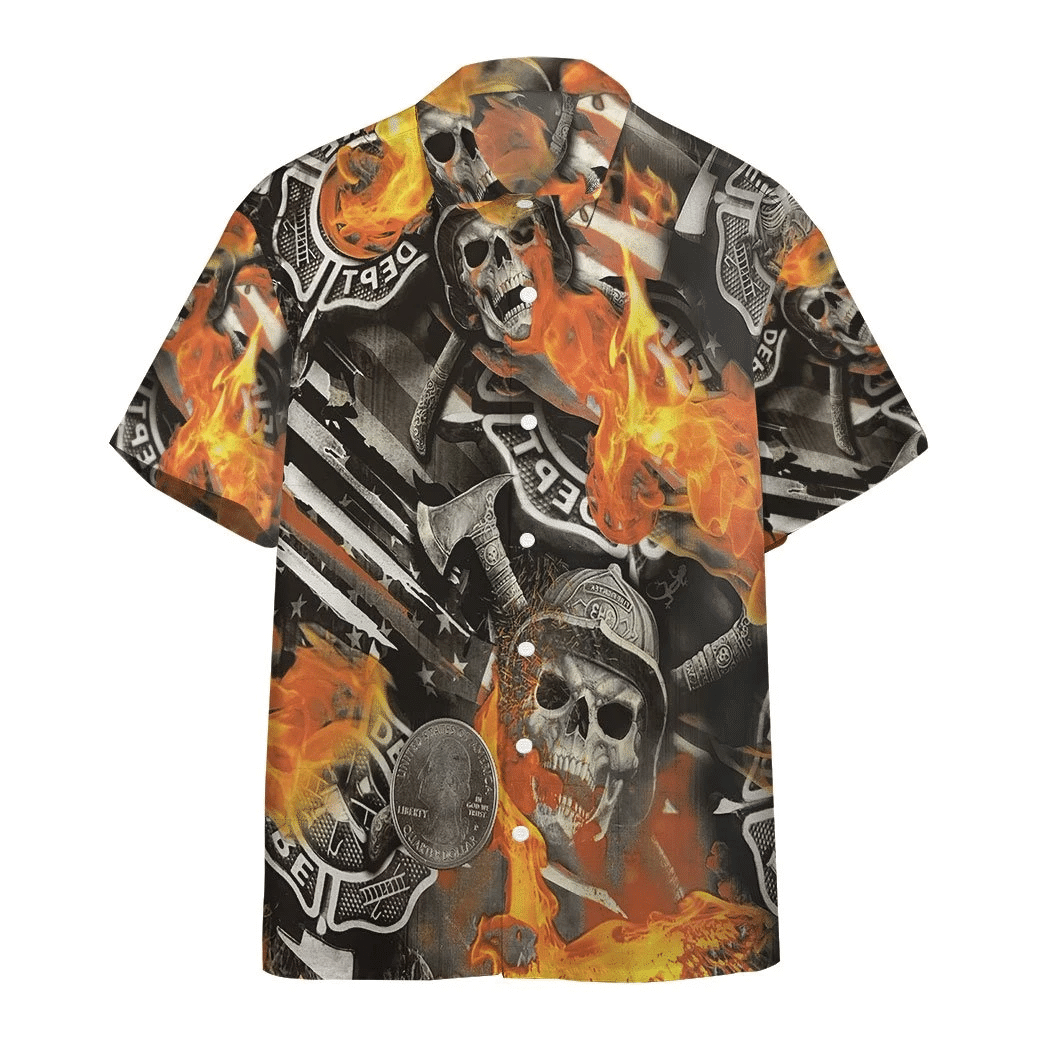 Skull Firefighter Hawaiian Shirt | For Men & Women | Adult | HW6652