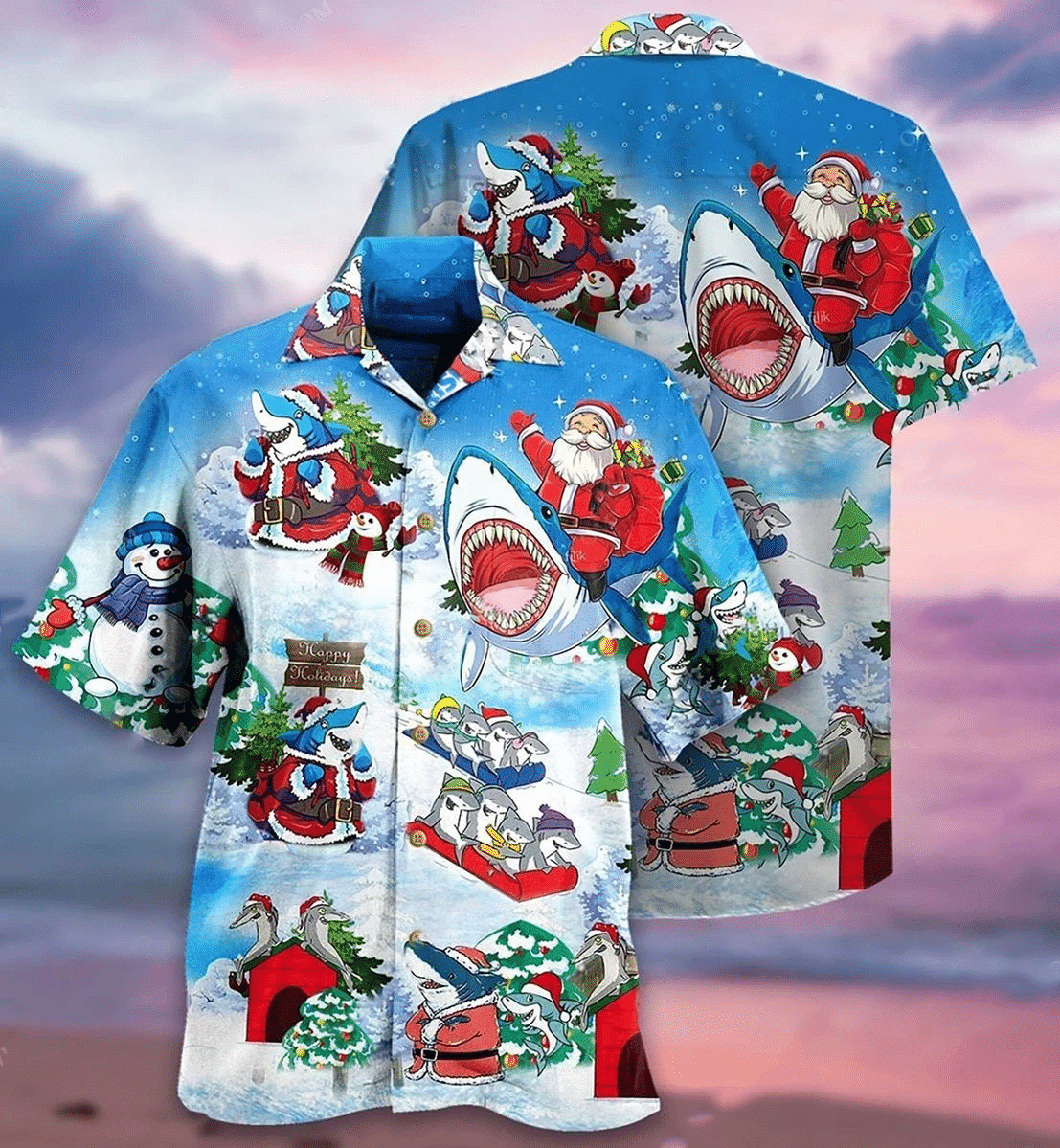 Santa Clause Ride Shark Hawaiian Shirt   For Men & Women   Adult   HW7103