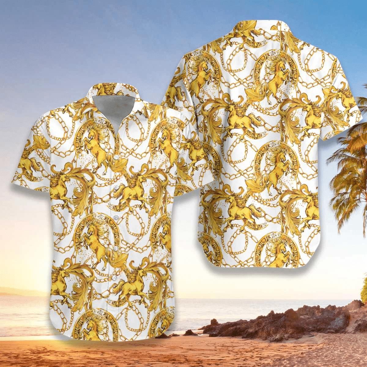 Luxury Golden Horse Hawaiian Shirt | For Men & Women | Adult | HW6903