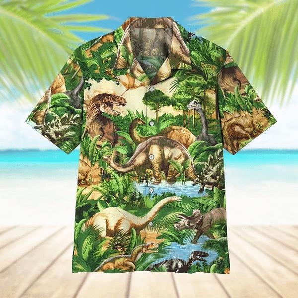 Dinosaur Hawaiian Shirt   For Men & Women   Adult   HW7322