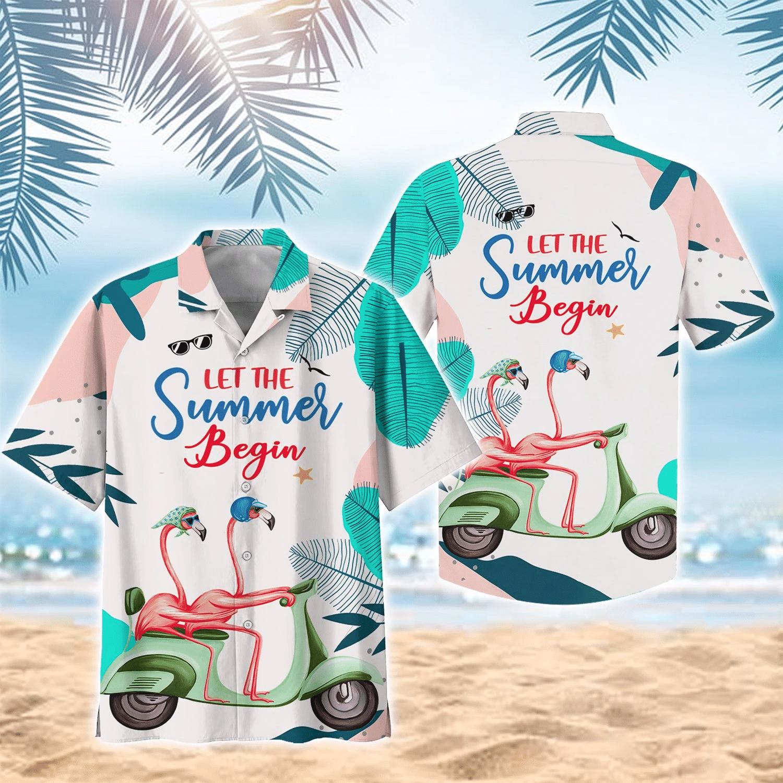Flamingo Couple Bike Hawaiian Shirt   For Men & Women   Adult   HW7219