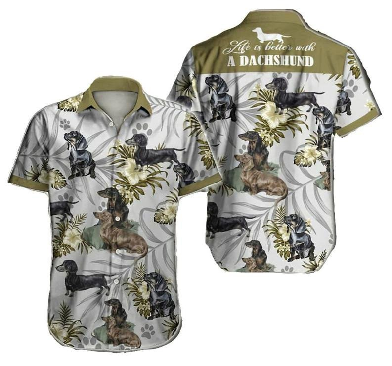 Dachshund Dog Tropical Hawaiian Shirt   For Men & Women   Adult   HW6941