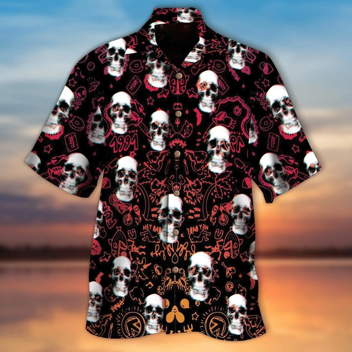 Skull Hawaiian Shirt   For Men & Women   Adult   HW6607