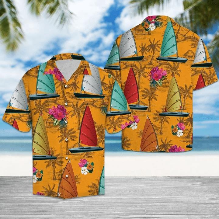 Wind Surfing Tropical Flowers Hawaiian Shirt | For Men & Women | Adult | HW6569