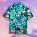 Cute Funny Cat American Flag Style Hawaiian Shirt | For Men & Women | Adult | WT1527