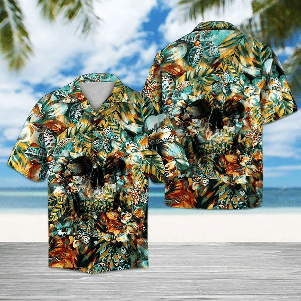 Skull Tropical Hawaiian Shirt   For Men & Women   Adult   HW6423