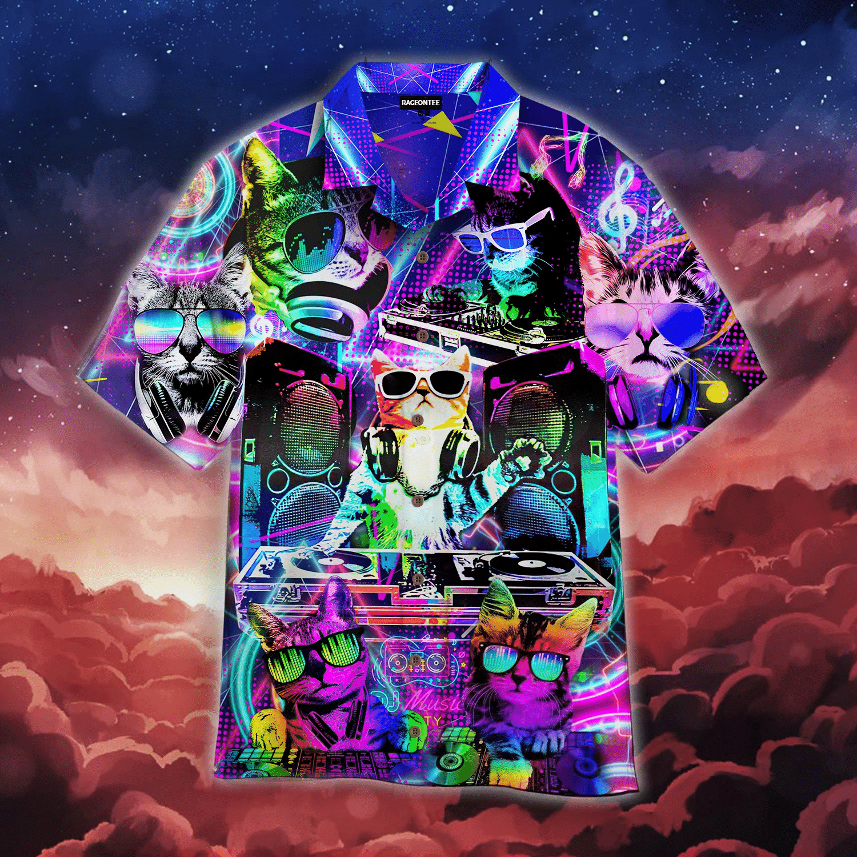 Cool Neon DJ Kitty Cat Hawaiian Shirt   For Men & Women   Adult   WT1208