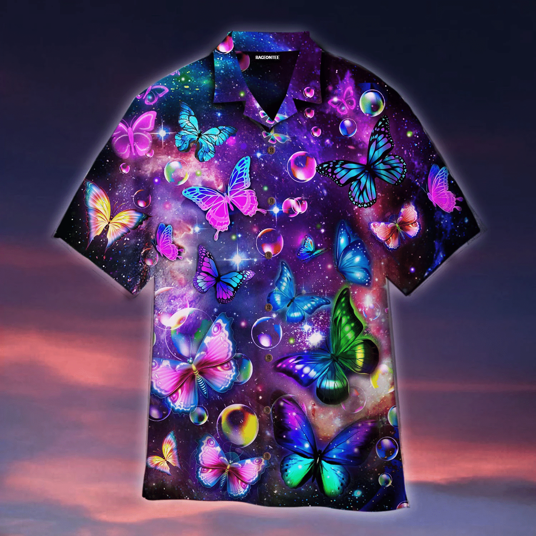 Fantasy Galaxy Neon Butterflies Hawaiian Shirt   For Men & Women   Adult   WT1106