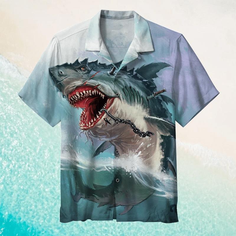 Shark Awesome Hawaiian Shirt   For Men & Women   Adult   HW6226