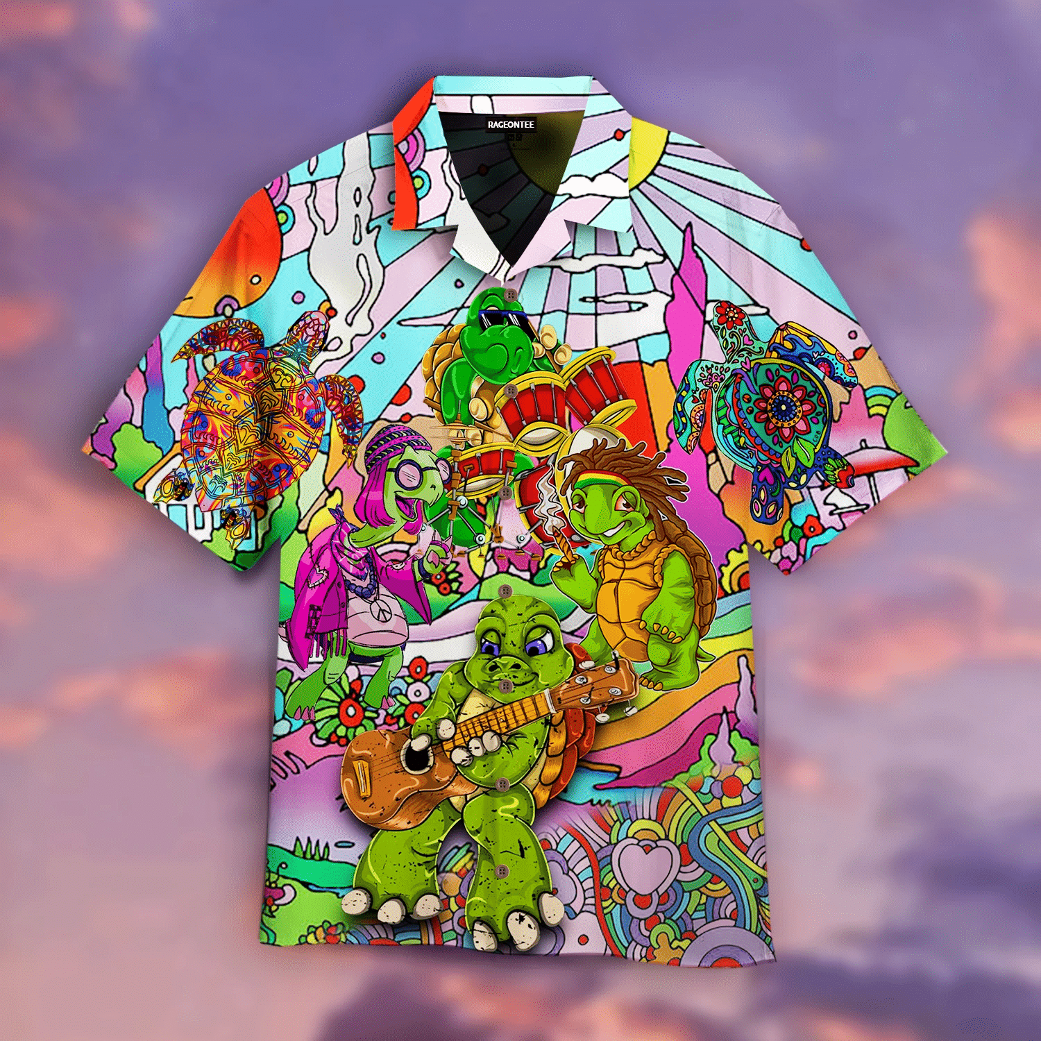 Don't Worry Be Hippies Turtle Music Band Hawaiian Shirt   For Men & Women   Adult   HW4823