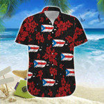 Puerto Rico Map Flowers Hawaiian Shirt   For Men & Women   Adult   HW6697