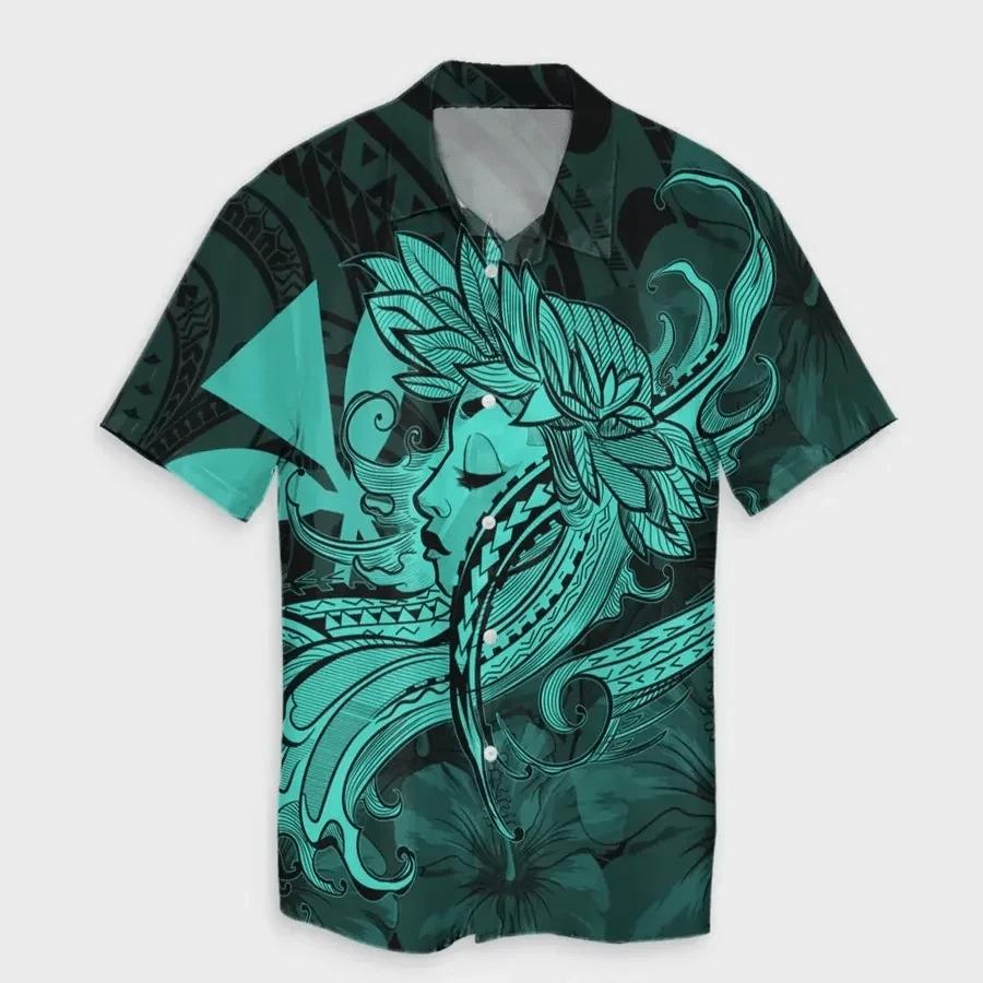 Map Hula Girl Hibiscus Kanaka Polynesian Hawaiian Shirt   For Men & Women   Adult   HW6819