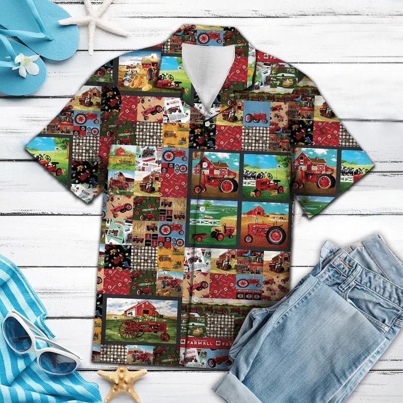 Red Tractor Hawaiian Shirt | For Men & Women | Adult | HW6848