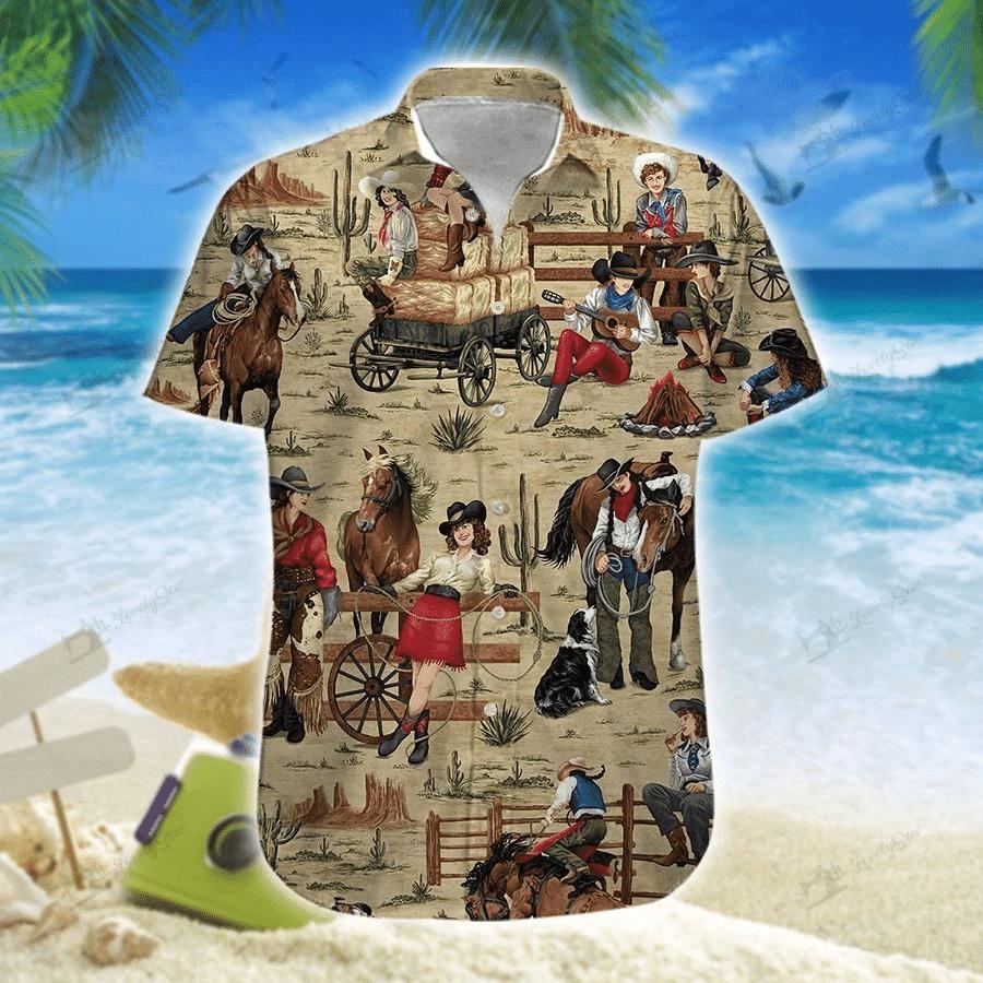 Cowgirls Hawaiian Shirt   For Men & Women   Adult   HW7448