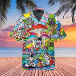 Funny Astronaut Are Playing With Alien Hippie Hawaiian Shirt   For Men & Women   Adult   HW4851