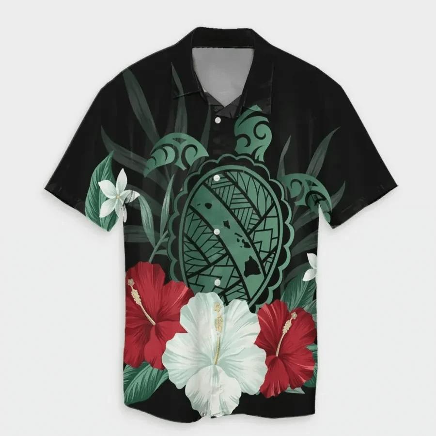 Map Turtle Hibiscus Polynesian Hawaiian Shirt   For Men & Women   Adult   HW6807