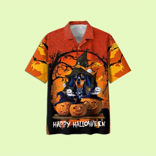 Dachshund And Pumpkin Happy Halloween Hawaiian Shirt   For Men & Women   Adult   HW7544