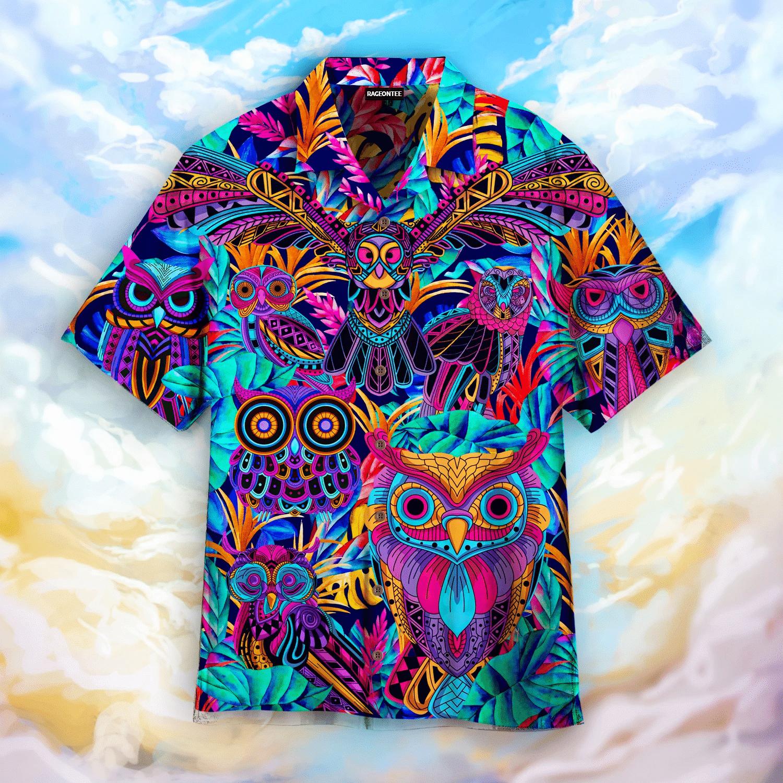 Tropical Colorful Neon Owl Hawaiian Shirt   For Men & Women   Adult   HW4843