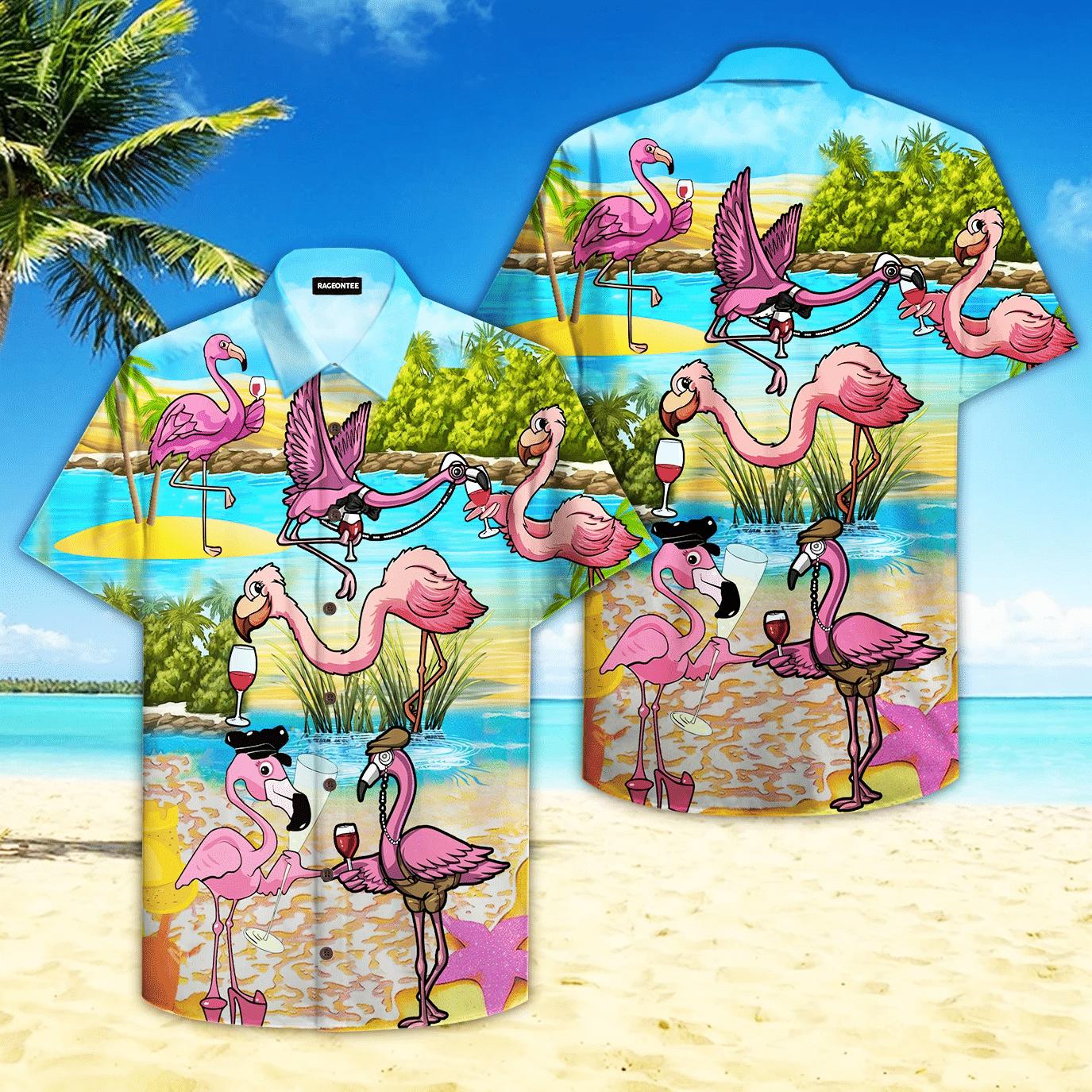 Pink Flamingo Drink Wine Party Hawaiian Shirt | For Men & Women | Adult | HW4739