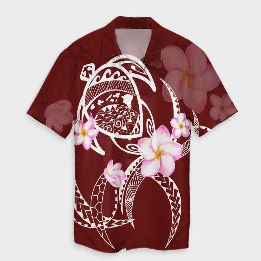 Map Plumeria Turtle Swim Polynesian Hawaiian Shirt   For Men & Women   Adult   HW6820