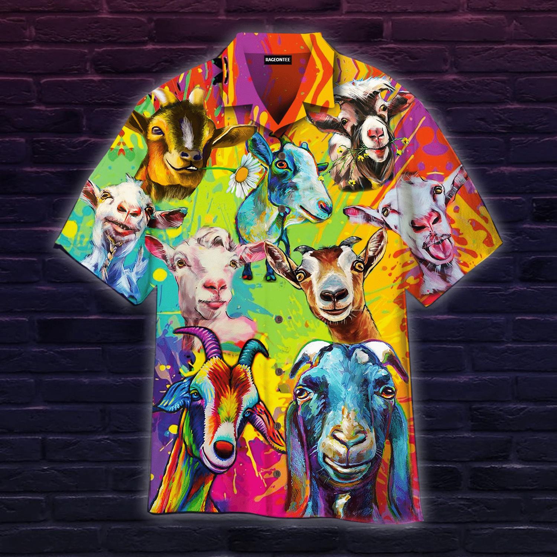 Colorful Goat Art Farmer Hawaiian Shirt | For Men & Women | Adult | HW4969