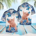 Aloha Shirt Pig Blue And White Flower Hawaiian Shirt | For Men & Women | Adult | HW6356