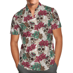 Tropical Summer Aloha Hawaiian Shirt Colorful Skull With Flower