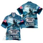 Tropical Summer Aloha Hawaiian Shirt US Navy HH-DD69