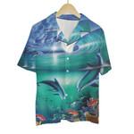 Tropical Summer Aloha Hawaiian Shirt Colorful Animals - Dolphin (Green wave) HH-BL14