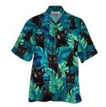 Tropical Summer Aloha Hawaiian Shirt Black Cat