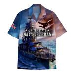 Tropical Summer Aloha Hawaiian Shirt Navy Veteran DN-HG34