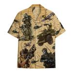 Tropical Summer Aloha Hawaiian Shirt Skull Army DN-HG36