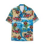 Tropical Summer Aloha Hawaiian Shirt Firetruck HC-NH27