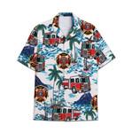 Tropical Summer Aloha Hawaiian Shirt Firetruck AV-NH25
